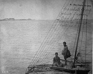 Sailing Canoe and Crew, Jaliut Lagoon, Marshall Islands (1899-1900)