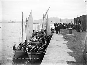 HMS King Edward VII - Sailors of HMS King Edward VII at Rathmullan in County Donegal, c. 1909