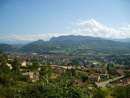 View of Saint-Girons and the Sourroque mountain