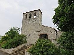 Saint-Romain-le-Noble - Clocher église (mai 2018).jpg