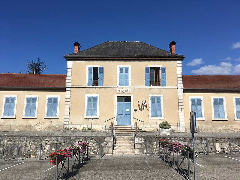The town hall of Saint-Martin-de-Bavel (Ain department, France). August 2017