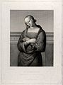 Saint Apollonia. Line engraving by J. Bein, 1842, after Raph Wellcome V0033421.jpg