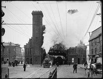 Boston and Maine Corporation - Locomotive emerging from Salem station on the Eastern line, ca. 1910