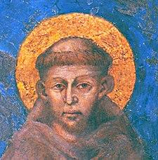 Raffigurazione di San Francesco d'Assisi in un affresco di Cimabue nella basilica di Assisi; si ritiene che sia l'immagine più fedele del santo.