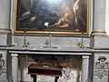 San bartolomeo a monte oliveto, int., simone pignoni, apparizione della vergine al b. bernardo tolomei, 04 iscrizione.JPG