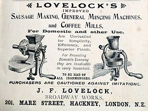 Sausage making - Advertisement about a Sausage machine, London, 1894