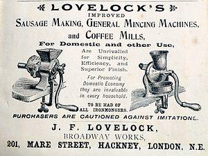 Sausage making - Advertisement about a Sausage machine, London, 1894