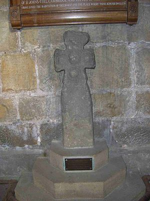 Church of St Nicholas, Bradfield - The Saxon cross stands against the north wall of the nave and is believed to date from the tenth century.