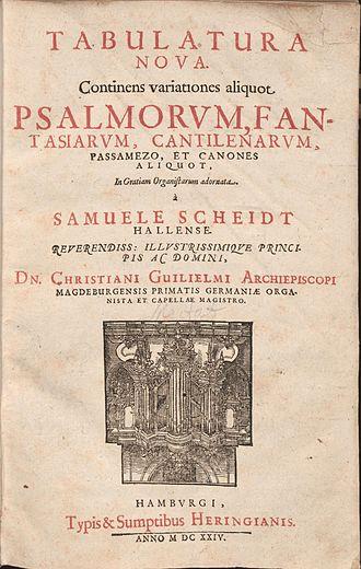 Chorale prelude - Title page of Scheidt's Tabulatura Nova