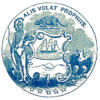 A blue seal that contains a Native American, a beaver, a ship, an eagle, five stars along the bottom, and the Latin phrase Alis Volat Propriis across the top.