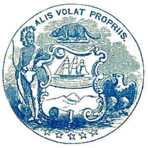 Alis volat propriis - Seal of the Oregon Territory with the Latin phrase Alis volat propriis