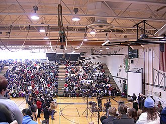 Franklin High School (Seattle) - Larry Gossett addressing a Martin Luther King, Jr. Day rally at the Franklin High School gymnasium (2006).
