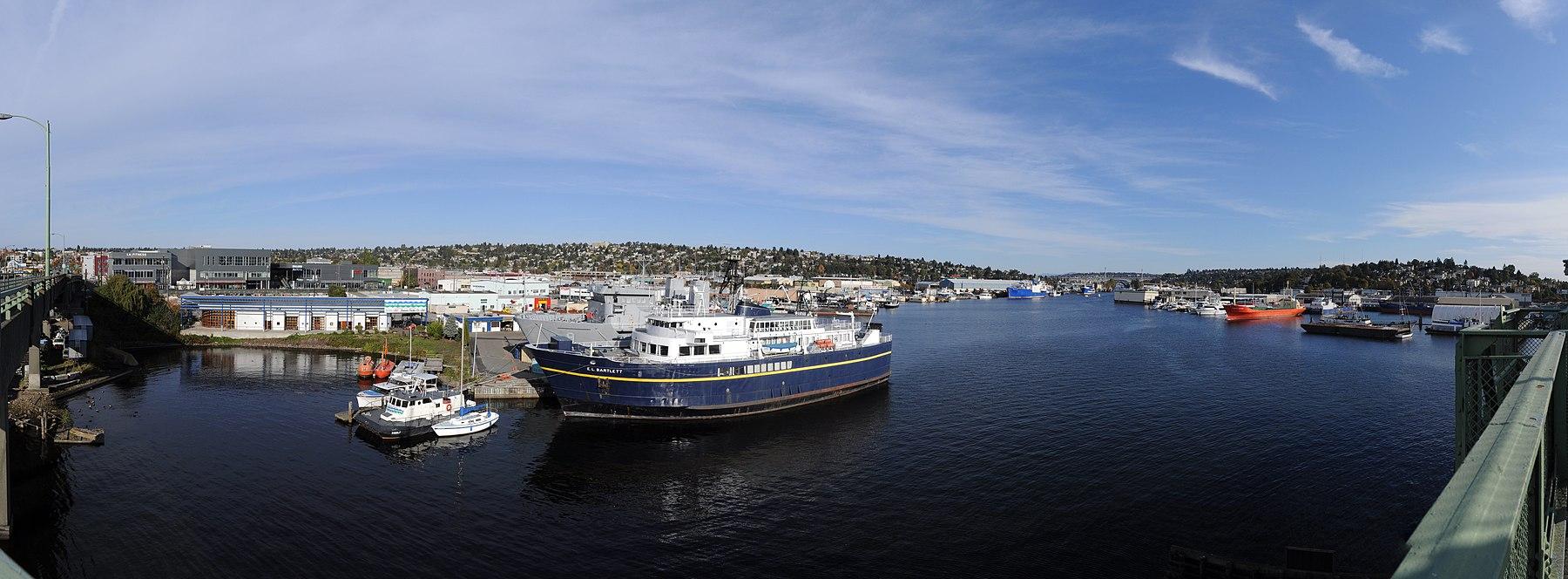Looking east from Ballard Bridge. Seattle Maritime Academy at left.