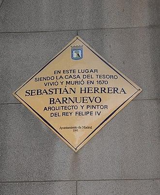 Sebastián Herrera Barnuevo - Memorial plaque at Plaza de Oriente, 3 in Madrid