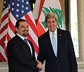 Secretary Kerry Shakes Hands With Former Lebanese Prime Minister Hariri, June 2014.jpg