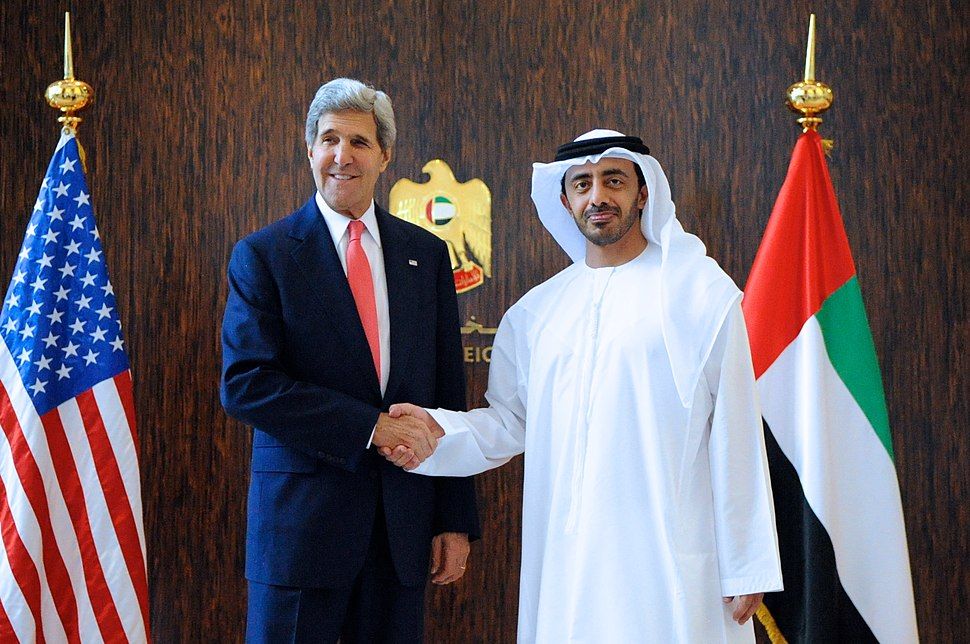 Secretary Kerry is Greeted by UAE Minister of Foreign Affairs Al Nayhan (10800078325)