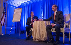 Mike Rogers (Michigan politician) - Mike Rogers and Secretary of Defense Ash Carter talked during the Center for the Study of the Presidency and Congress Eisenhower award dinner