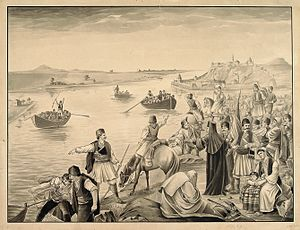Migration of the Serbs - An illustration of Serbs crossing the Danube into the Habsburg lands