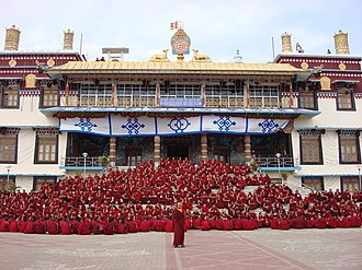 Sera Monastery - Monks assembled outside the Sera Me Tratsang college of Sera Monastery in India in December 2006.
