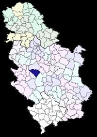 Vị trí của khu tự quản Čačak trong Serbia