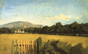 Italian Neoclassical and 19th-century art - A Macchiaioli painting of a meadow.