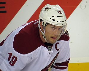 "Captain (ice hockey) - Shane Doan, wearing the ""C"" as captain of the Arizona Coyotes."