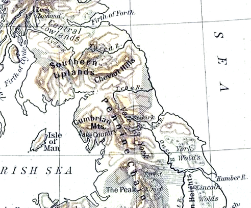 Physical geography of Northumberland and surrounding areas ShepherdPhysical1926Northumberland.png