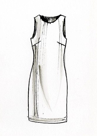 Shift dress - A drawing by David Ring illustrating a shift dress for the Europeana Fashion project. A shift dress typically falls from the shoulders, and features darts around the bust.