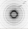 Si powder diffraction pattern indexed.png