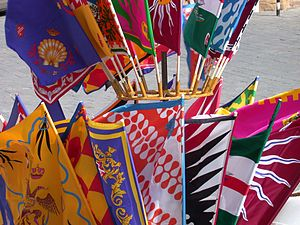 Palio di Siena - Banners of the city's contrade sold before the race. (A contrada is a district, or a ward, within an Italian city.)