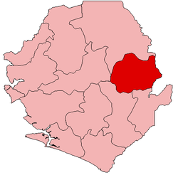 Location of Kono District in Sierra Leone