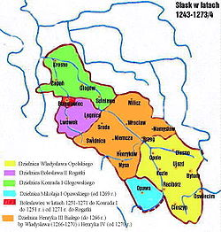 Silesia 1249-1273: Creation of the Duchy of Głogów (green) for Konrad I from the territory of Bolesław II the Bald of Legnica (violet)