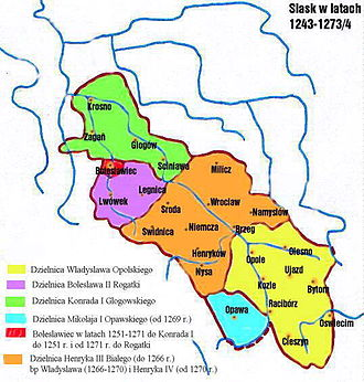 Henryk IV Probus - Silesia in 1273, Henry's Duchy of Wrocław in orange