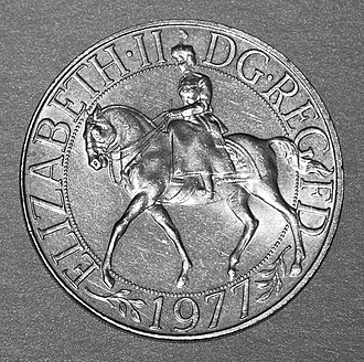 British twenty-five pence coin - Image: Silver Jubilee Crown Coin 1977Obverse