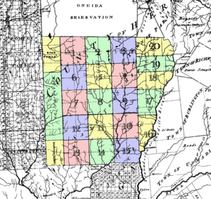 "Madison County, New York - The ""Twenty Townships"" west of the Unadilla River, conveyed by the Oneida Indians in 1788. Known as ""Clinton's Purchase"""