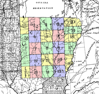 "Chenango County, New York - The ""Twenty Townships"" west of the Unadilla River, conveyed by the Oneida Indians in 1788. Known as ""Clinton's Purchase"""