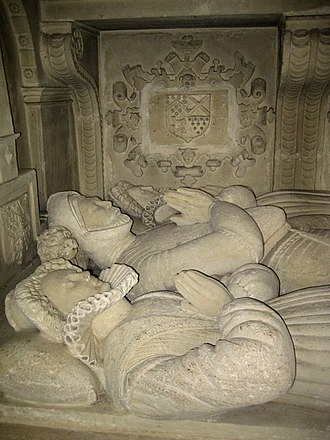 Berkeley family - Detail of monument to Sir Maurice Berkeley and his two wives in the Church of St Mary, Bruton, Somerset.