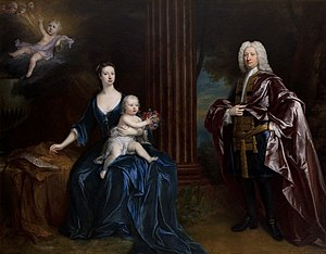 Sir Nathaniel Curzon, 4th Baronet - Sir Nathaniel Curzon, 4th Bart., with his wife Mary Assheton, Lady Curzon, and their sons Nathaniel and John by Jonathan Richardson, 1727–1730.