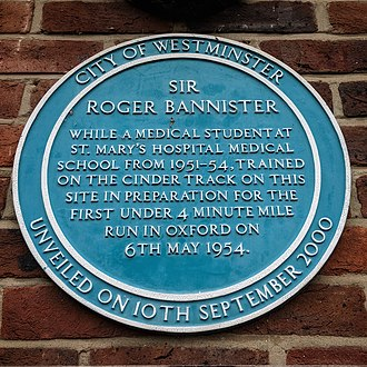 Roger Bannister - Blue plaque at the Paddington Recreation Ground pavilion