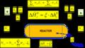 Sistema reaccionante con definción de delta h de reacción y balances de masa y energia.png