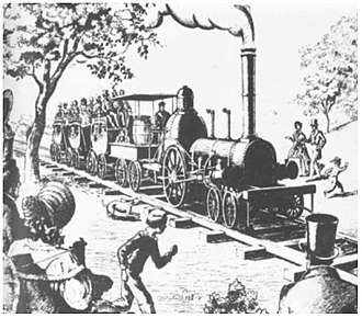 City Point Railroad - Sketch of first train leaving City Point in 1838 by Francis Earle Lutz drawn in 1957.