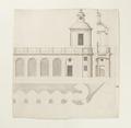 Skoklosters slott planerade sjögårdsbyggnad, ritning från 1650-talet - Skoklosters slott - 98126.tif