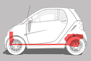 Smart Fortwo - The rear engine and forward cooling system locations in the Smart Fortwo.