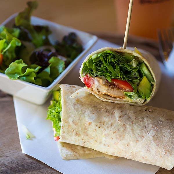 File:Smoked chicken and avocado wrap.jpg