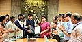Smriti Irani handing over the possession of Indu Mill land, owned by National Textile Corporation (NTC) Limited, to the Chief Minister of Maharashtra.jpg