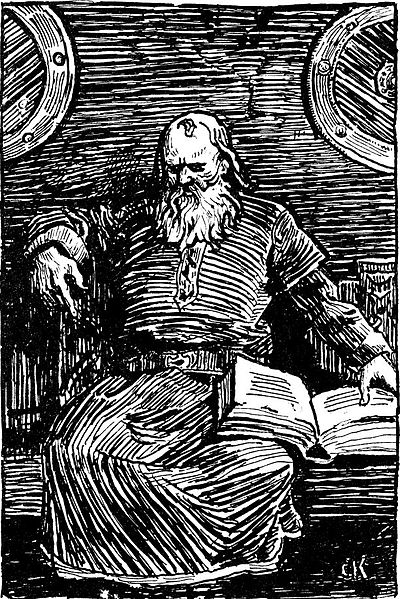 The works of the 13th century Icelandic historian Snorri Sturluson are invaluable sources on Germanic paganism Snorre Sturluson-Christian Krohg.jpg