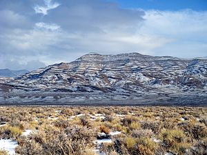 Confusion Range - Snow on the hills around Willow Springs Canyon, eastern flank of the range, near Cowboy Pass