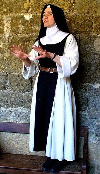 Cistercian nuns - A nun of the Cistercian Abbey of Our Lady of Rieunette, near Carcassonne, France (2006)