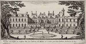 Prince Eugene of Savoy - Hôtel de Soissons, Eugene's birthplace. Engraving by Israel Silvestre c. 1650.