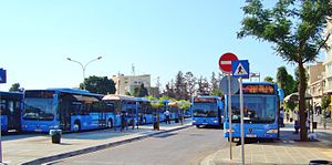 Transport in Cyprus - Public blue buses operated by OSEL in Makariou Avenue, Nicosia